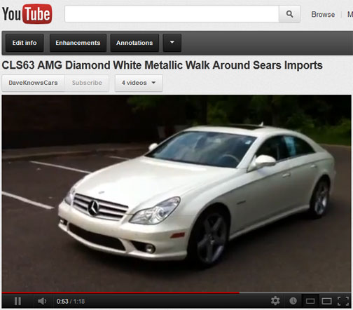 Featured Video! 2007 Mercedes Benz CLS63 AMG designo Mystic White 30,745 One Owner Miles Just $48,900