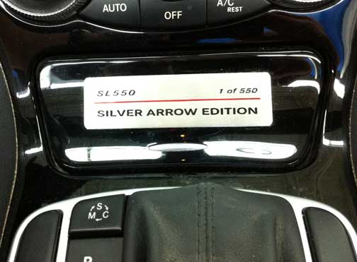 2009 Mercedes SL550 silver arrow badge