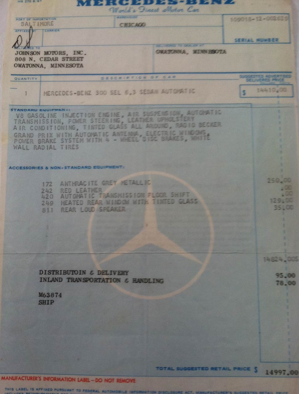 Mercedes 6.3 For Sale