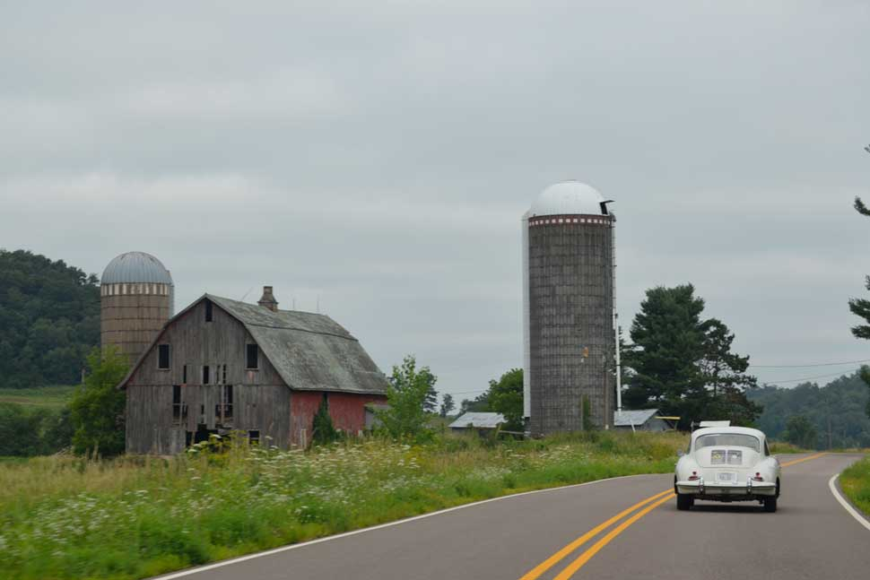 Porsche-356-Light-Ivory-Driving-Road-America-Road-Trip